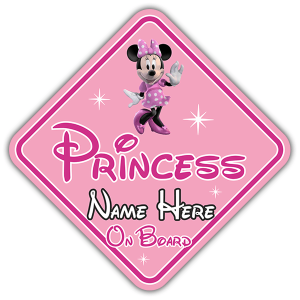 Car & Motorbike Stickers: Princess on board personalized - english