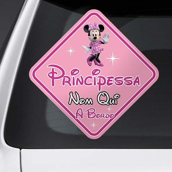 Car & Motorbike Stickers: Princess on board personalized - italian