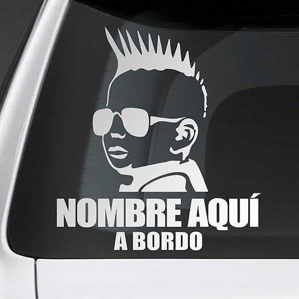 Car & Motorbike Stickers: Punk on board personalized - spanish