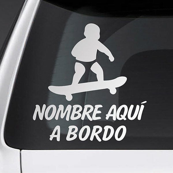 Car & Motorbike Stickers: Skate on board personalized - spanish