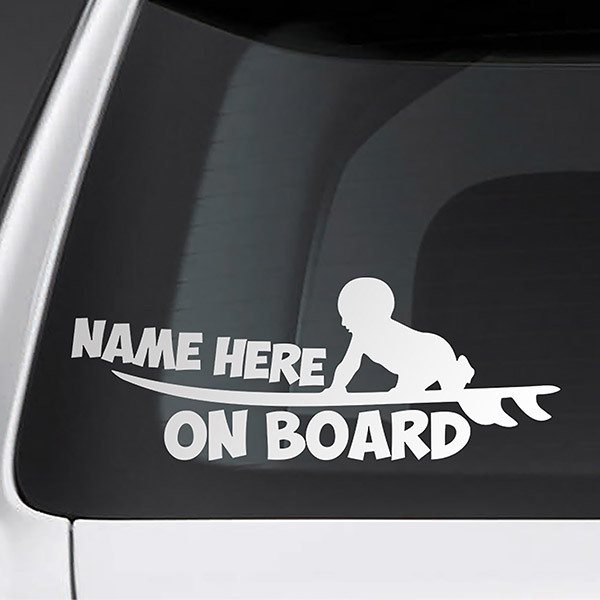 Car & Motorbike Stickers: Surf on board personalized - english