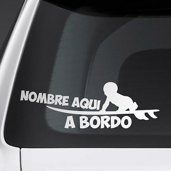 Car & Motorbike Stickers: Surf on board personalized - spanish