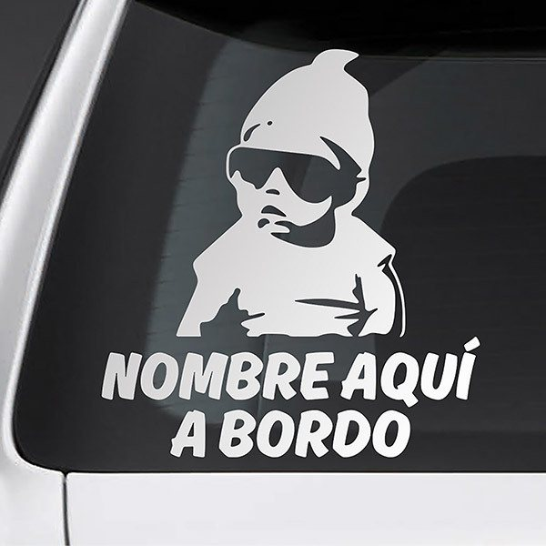 Car & Motorbike Stickers: Trendy on board personalized - spanish