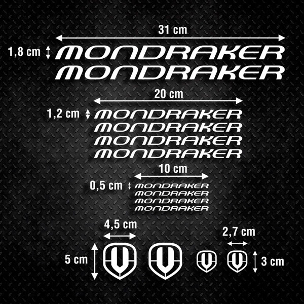 Car & Motorbike Stickers: Set 14X Bike MTB Mondraker Classic