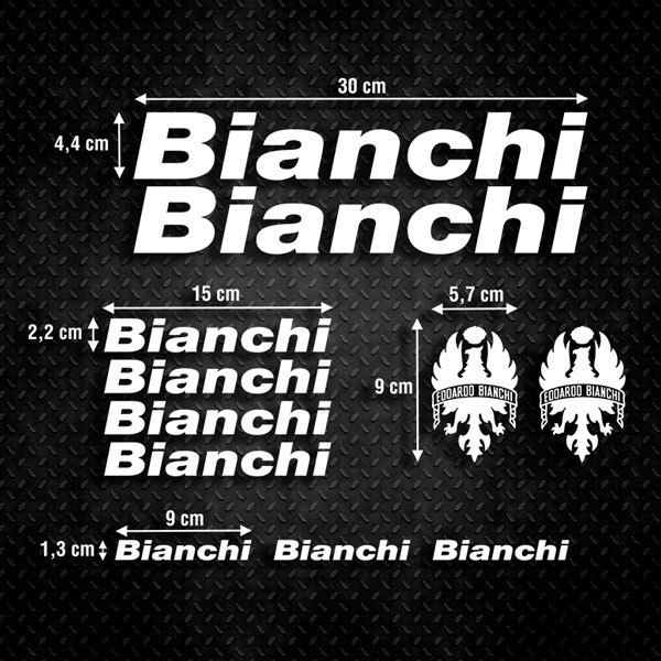 Car & Motorbike Stickers: Set 11X Bike Bianchi