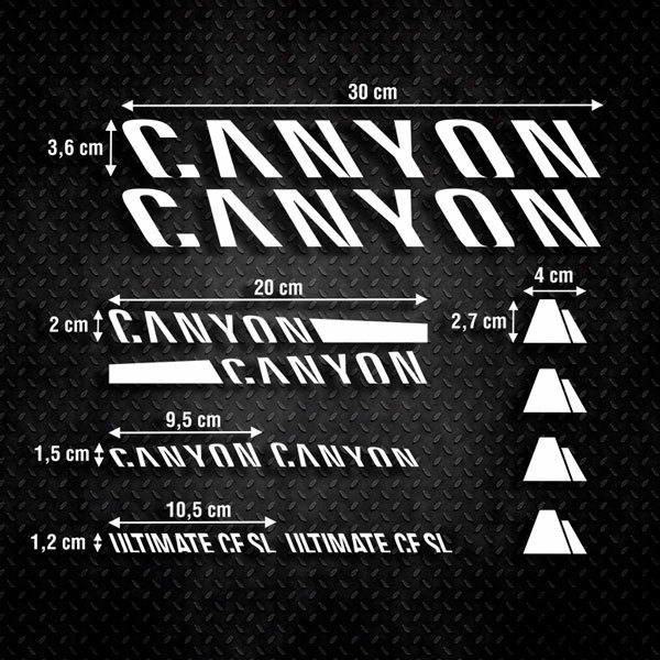 Car & Motorbike Stickers: Set 12X Bike Canyon Ultimate