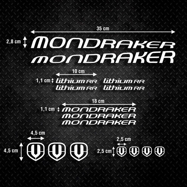 Car & Motorbike Stickers: Set 16X Bike MTB Mondraker Carbon