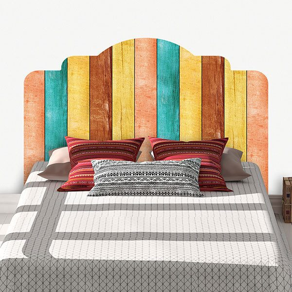 Wall Stickers: Bed Headboard Multicoloured wood