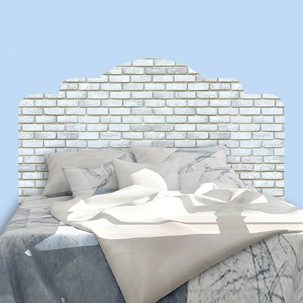 Wall Stickers: Bed Headboard White brick