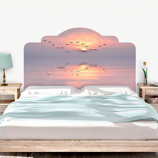 Wall Stickers: Bed Headboard Sunset among seagulls