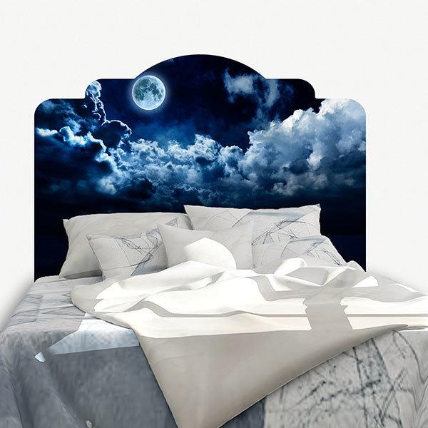 Wall Stickers: Bed Headboard Full moon over the sea
