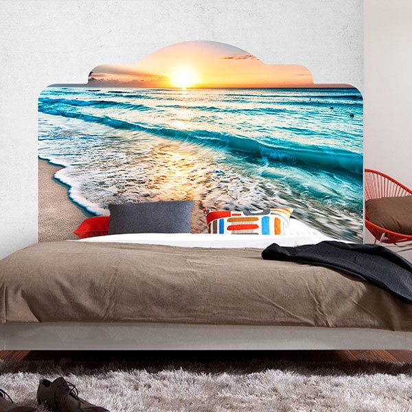 Wall Stickers: Bed Headboard Sunset on the beach