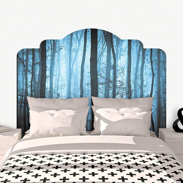 Wall Stickers: Bed Headboard Blue forest