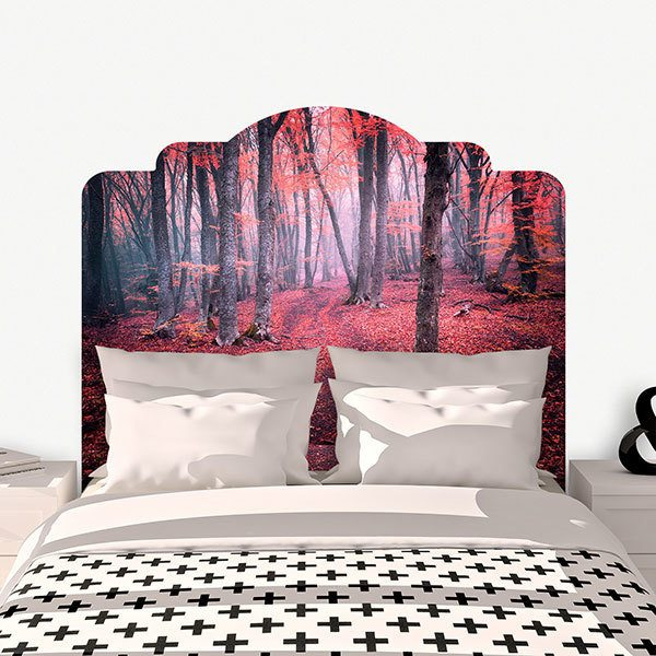 Wall Stickers: Bed Headboard Red Forest