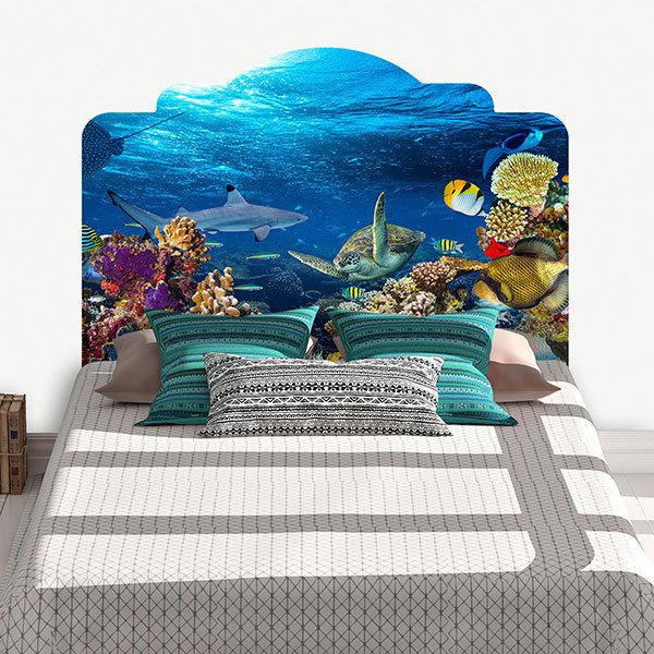 Wall Stickers: Bed Headboard Seabed