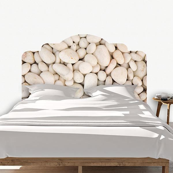 Wall Stickers: Bed Headboard White stones