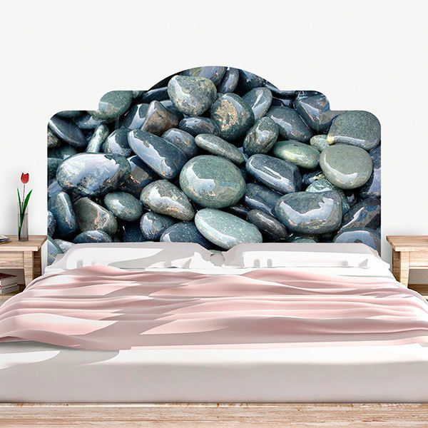 Wall Stickers: Bed Headboard River Stones