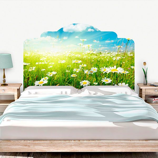 Wall Stickers: Bed Headboard Field of daisies