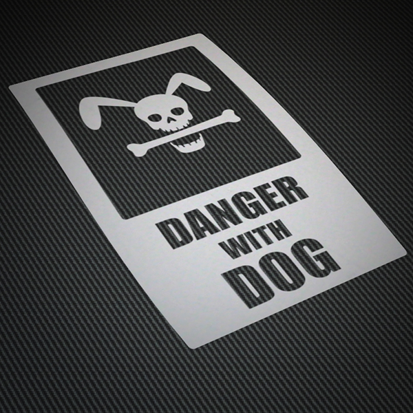 Car & Motorbike Stickers: Danger with dog