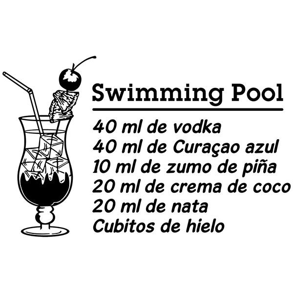Wall Stickers: Cocktail Swimming Pool - spanish