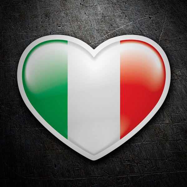 Car & Motorbike Stickers: Heart Flag Italy