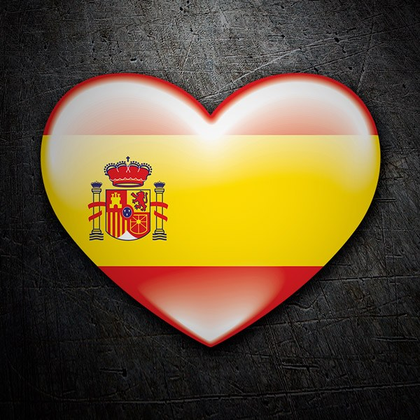 Car & Motorbike Stickers: Heart Spain flag