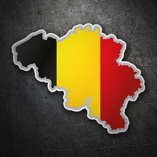 Car & Motorbike Stickers: Flag map Belgium