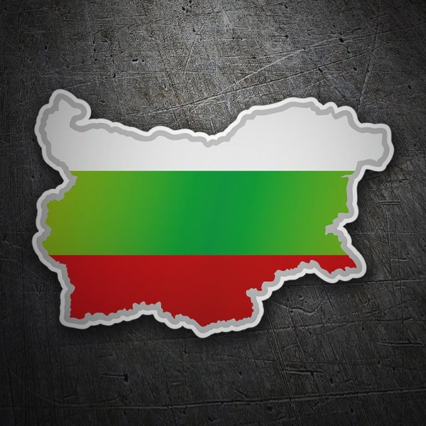 Car & Motorbike Stickers: Flag map Bulgaria