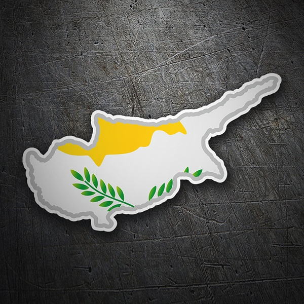 Car & Motorbike Stickers: Flag map Cyprus
