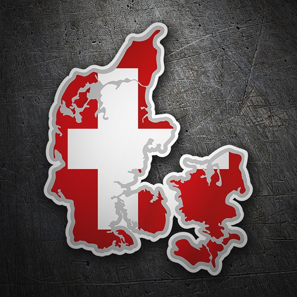 Car & Motorbike Stickers: Flag map Denmark