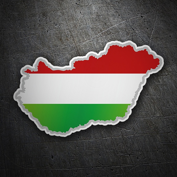 Car & Motorbike Stickers: Flag map Hungary