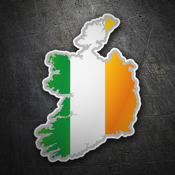 Car & Motorbike Stickers: Flag map Ireland