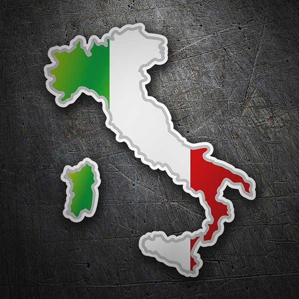 Car & Motorbike Stickers: Flag map Italy