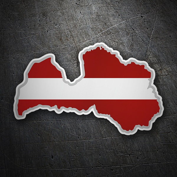 Car & Motorbike Stickers: Flag map Latvia