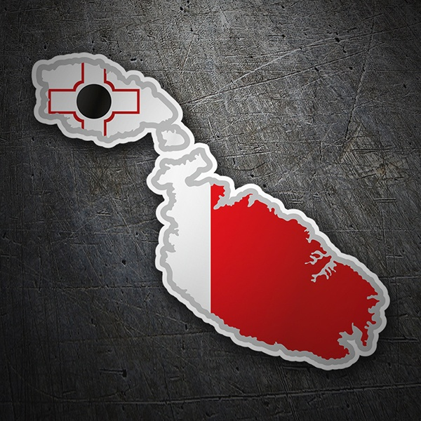Car & Motorbike Stickers: Flag map Malta