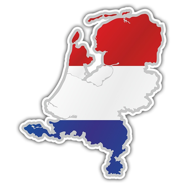 Car & Motorbike Stickers: Flag map Netherlands