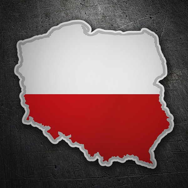 Car & Motorbike Stickers: Flag map Poland