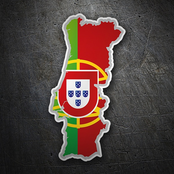Car & Motorbike Stickers: Flag map Portugal
