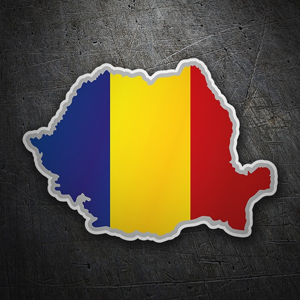 Car & Motorbike Stickers: Flag map Romania