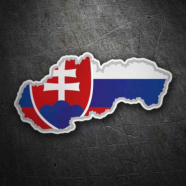 Car & Motorbike Stickers: Flag map Slovakia