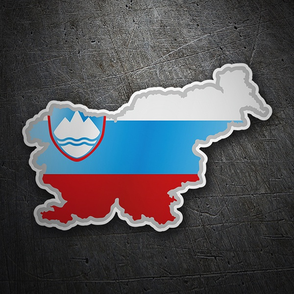 Car & Motorbike Stickers: Flag map Slovenia