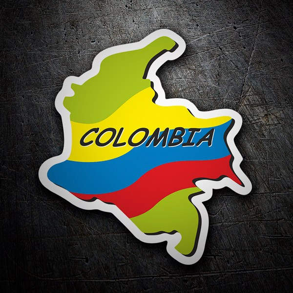 Car & Motorbike Stickers: Flag map Colombia
