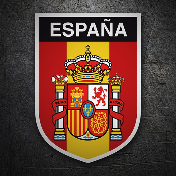 Car & Motorbike Stickers: Spain flag with coat of arms vertical