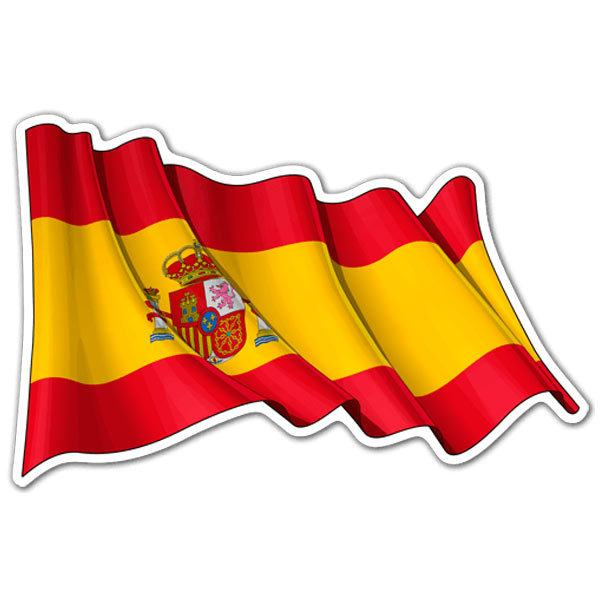Car motorbike stickers spain flag waving
