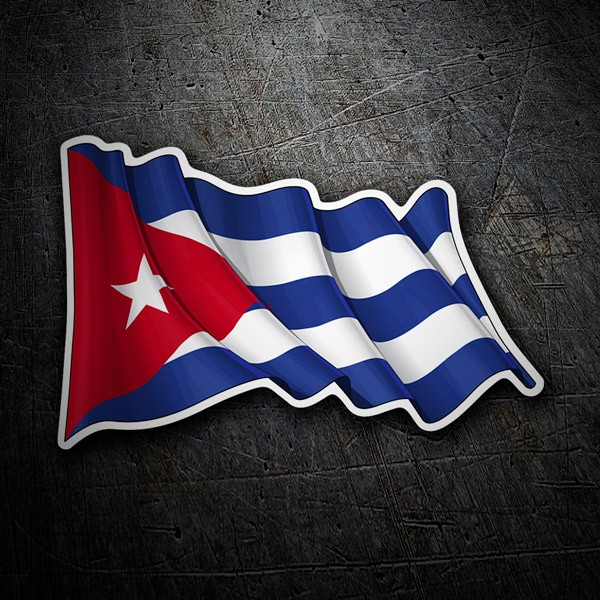 Car and Motorbike Stickers: Flag of Cuba waving
