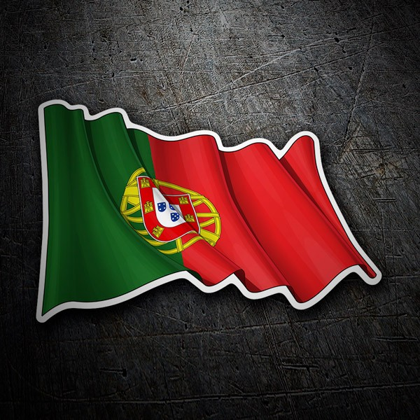 Car and Motorbike Stickers: Flag of Portugal waving