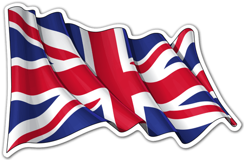 Car & Motorbike Stickers: United Kingdom flag waving 0