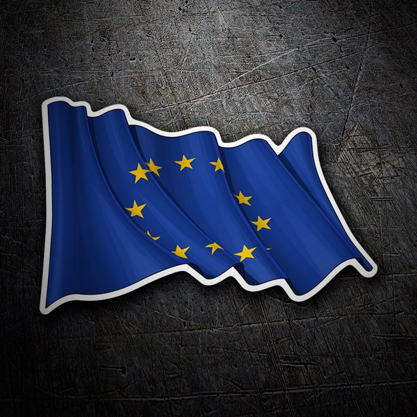 Car & Motorbike Stickers: European Union Flag waving