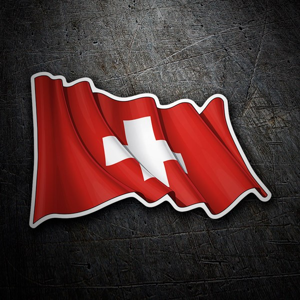 Car and Motorbike Stickers: Flag of Switzerland waving