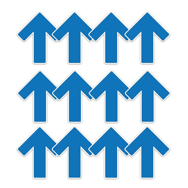 Car & Motorbike Stickers: Set For Floor 12X Blue Arrows